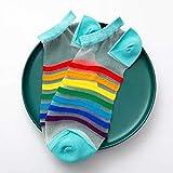 AERVEAL Calcetines de Barco, Calcetines de Barco, Calcetines de Barco de Fibra de Vidrio para Mujer, Calcetines Cortos Finos de Malla Transparente con Rayas arcoíris