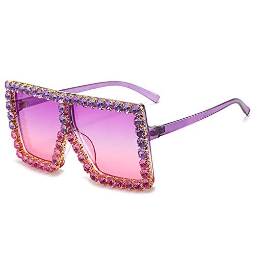 Gafas De Sol Gafas De Sol Cuadradas De Gran Tamaño con Diamantes para Mujer, Gafas De Sol con Diamantes De Imitación para Mujer, Anteojos Vintage C14