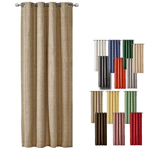 Jemidi Rideau à œillets aspect lin 140 x 245 cm, Tissu, sable, 140cm x 245cm