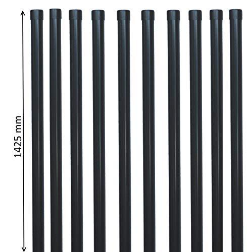 10 EXCOLO Zaunpfosten Zaunpfahl Pfosten Ø34 mm / 1425mm lang für 1m hohen Gartenzaun aus Draht Schweißgitter in grau anthrazit RAL 7016