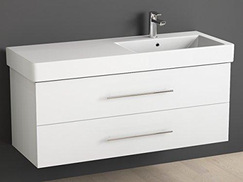 Aqua Bagno Badmöbel 120 cm inkl. Keramik Waschtisch Waschplatz rechts / Badezimmer Möbel inkl. Waschbecken Unterschrank weiß lackiert