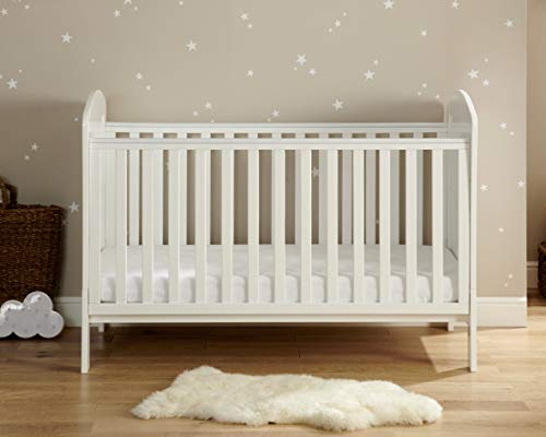 Babymore Aston Baby Cot Bed | Solid Pine Wood | Converts into Day Bed, Toddler Bed | 3 Adjustable Base Positions | Teething Rail | White