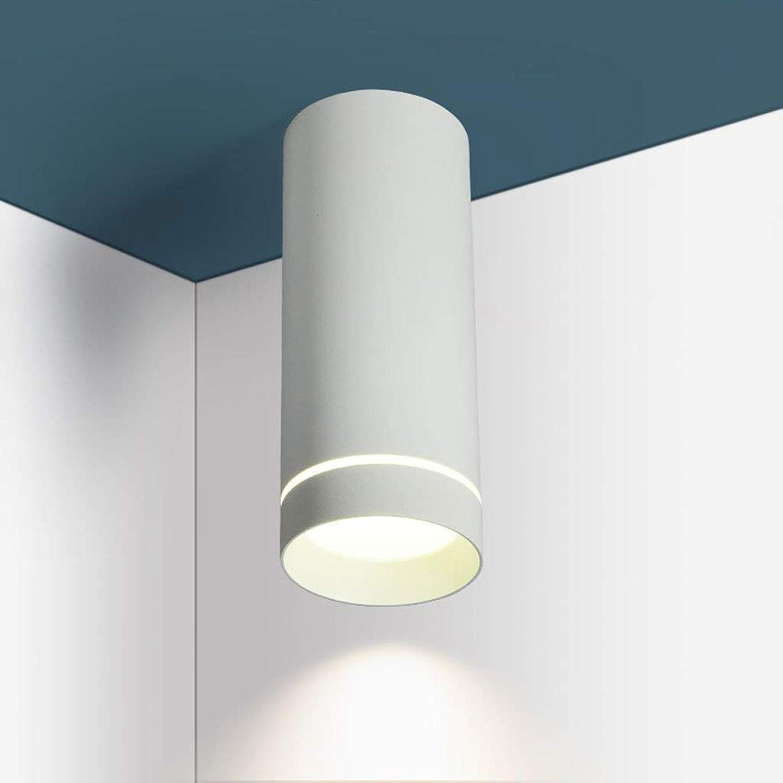 Xiao Yun   LED 9W12W Nordic Minimalist Round Full Aluminium Decke Downlight Wohnzimmer Schlafzimmer Hintergrund Wandstrahler (Schwarz, Wei) (Farbe  Wei-High 20cm)