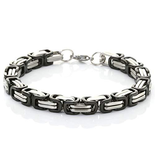 Daesar Edelstahl Armband Herren Königskette 19 cm Bettelarmband Punk Armband Silber Schwarz 19CM