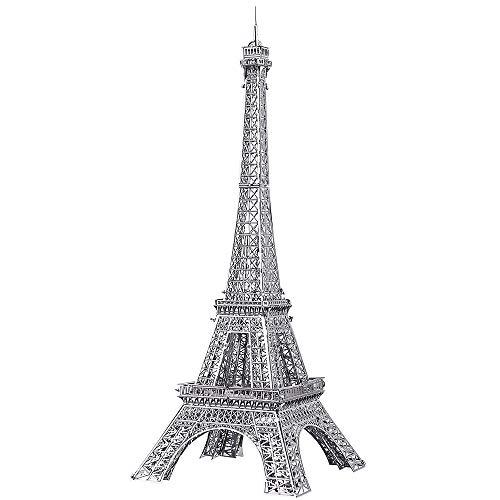 PuceCool 3D Laser Cut DIY - Modelo arquitectónico tradicional de metal para adultos – Torre Eiffel – 43 piezas (plata)