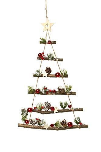 Heitmann DECO - Decoración de pared de madera para colgar - Árbol de Navidad decorado - Árbol de Navidad con decoración