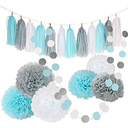 BeiLan Paper Pom Poms Flowers,Tissue Tassel,Circle Garland Polka Dot Paper Garland Kit Hanging Decoration for Christmas Birthday Wedding Carnival Baby Shower Home Wall Party Bridal Shower Festival