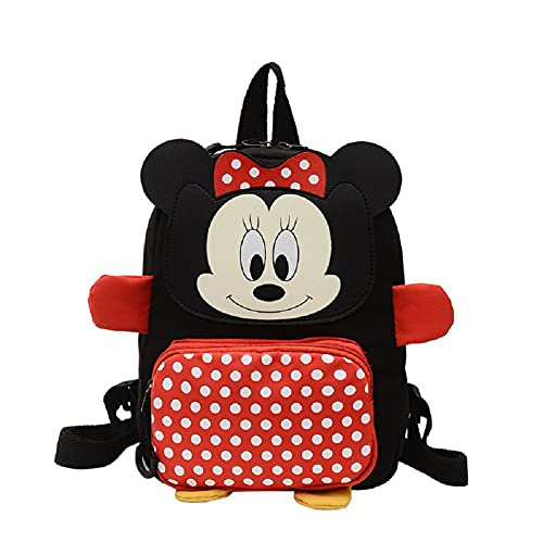 BKJJ Mickey Zaino Scuola Elementare Bambina Zainetto Rosa Disney Minnie Zaino Scuola Elementare Bambina, Adatto Per Zaino Per Bambini e Per La Scuola o In Viaggio, Molto Spazio(Rosso)