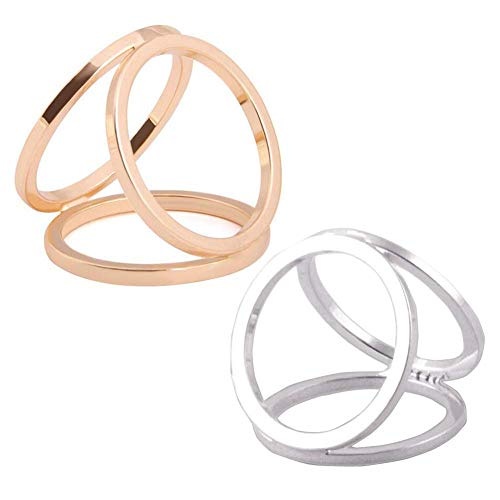2PCS(Golden + Silver) Women Lady Girls Three Ring Fashion Scarf Ring Buckle Modern Simple Triple Slide Jewelry Silk Scarf Clasp Clips Clothing Wrap Holder
