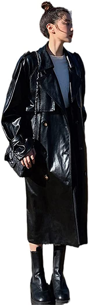 RFXZSAQD Oversize Black PU Leather Trench Coat for Lady, Double-Breasted Long with Belt Women Spring Autumn Coat