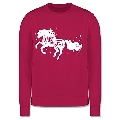 Shirtracer Tiermotive Kind - Wild und Frei Pferdemotiv - 104 (3/4 Jahre) - Fuchsia - JH030K_Kinder_Pullover - JH030K - Kinder Pullover