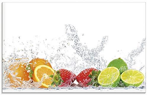 Artland Küchenrückwand Glas mit Motiv Spritzschutz 80x50 cm Orange Zitrone im Eiswasser Früchte Obst Essen Lebensmittel Bunt S6JP