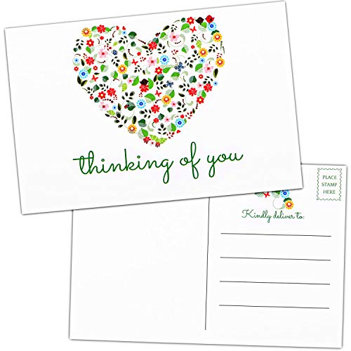 50 Pieces Thinking of You Postcards Bulk Blank Greeting Cards Floral Missing You Greeting Cards for Friendship Love Encouragement and Support