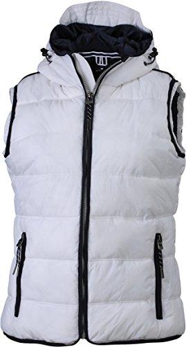James & Nicholson Damen Jacke Weste Ladies' Maritime Vest weiß (White/Navy) Large