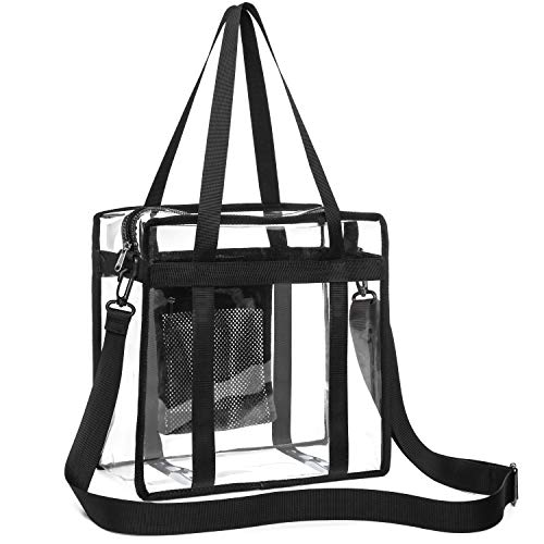 Clear Bag, iSPECLE Clear Tote Bag NFL Stadium Approved for Concert, Sport Football Games, Works, Shoulder Strap for Women Men 12 x 12 x 6 inch Black