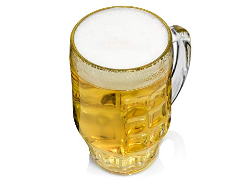 Bormioli Rocco 133930337 Malles Bierseidel, Bierkrug, Bierglas, 660ml, mit Füllstrich bei 0.5l, Glas, transparent, 6 Stück