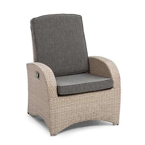 blumfeldt Comfort Siesta Sessel - stufenlos verstellbare Rückenlehne, Material Bezug: Polyester, Polsterung mit 8 cm Dicke, platzsparend zusammenlegbar, Gasdruckfeder, grau