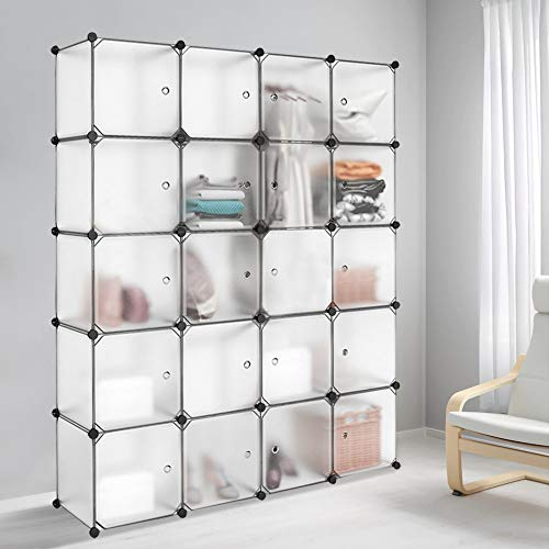 Meerveil Interlocking Portable Plastic Wardrobe Cabinet,Transparent Cube Storage Organizer for Hanging Clothes,Modular Cabinet for Clothes, Books,Shoes, Toys(20 Cube)