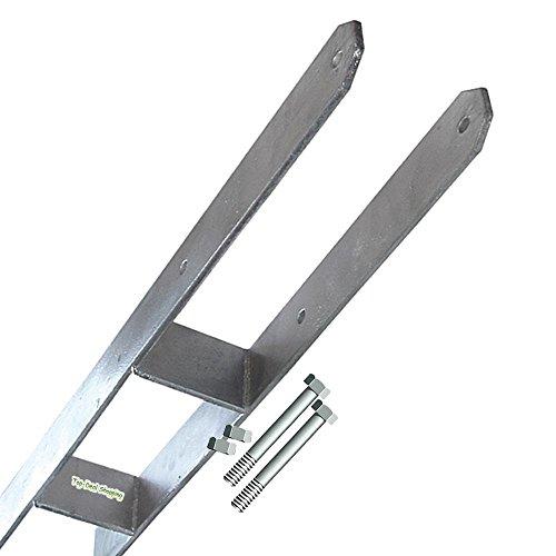 Betonanker, H-Anker extra lang 80 cm für 14 cm Pfosten mit Schrauben