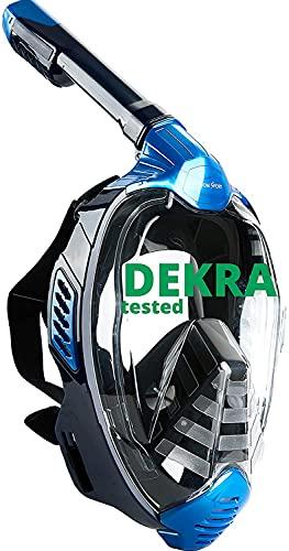 Khroom Máscara de Snorkel Segura para CO2, Máscara Facial de Esnórquel Antivaho | Seaview X - Máscara de Buceo para Adultos y niños (Azul, L/XL)
