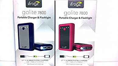 iFrogz Golite Traveler Universal Portable External Battery Charger and Flashlight for Smartphones and Tablets (7,800 mAh) - Blue (Pink/Black)