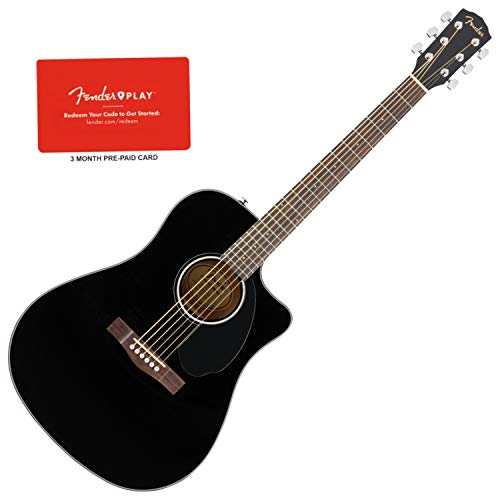 Fender CD-60SCE Dreadnought Solid Top Black Acoustic-Electric Guitar w/Prepaid