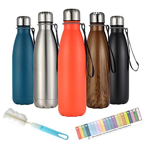 BEI & HONG Botella Agua Acero Inoxidable 500ml, Botella Termica Reutilizable - Enfriamiento Las 24 Horas y 12 Horas Mantiene Caliente, Botellas Termo de Doble Pared, Sin Bpa, con Cepillo de Limpie