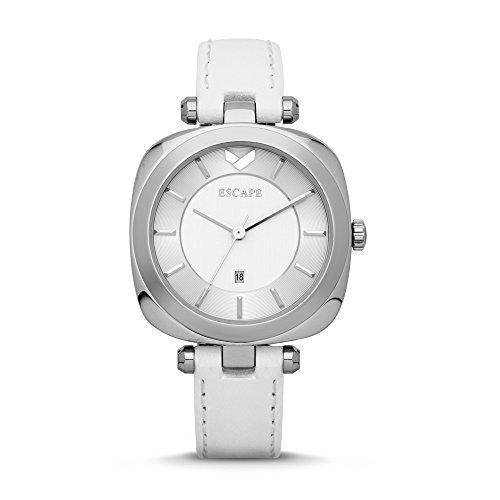 Escape–Coachella stainless-wht piel 3hand-date relojes EC1134–101