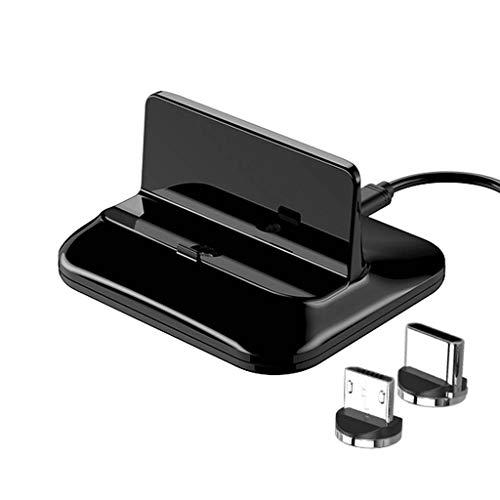 JENOR - Estación de carga magnética micro USB-C compatible con Sam-Sung Xiao-mi Hua-wei HTC ZT-E y Roid