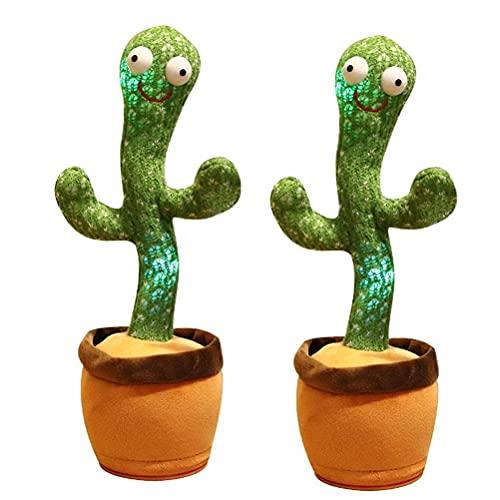 GQQ Hosuho 2Pcs Muñeca de Cactus Eléctrica Cantando Y Lando Cactus Luminoso de Peluche de Regalo para Niños