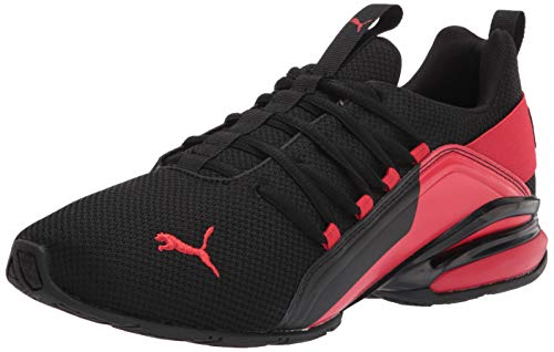 PUMA Men's Axelion Running Shoe, Black-High Risk Red, 11.5