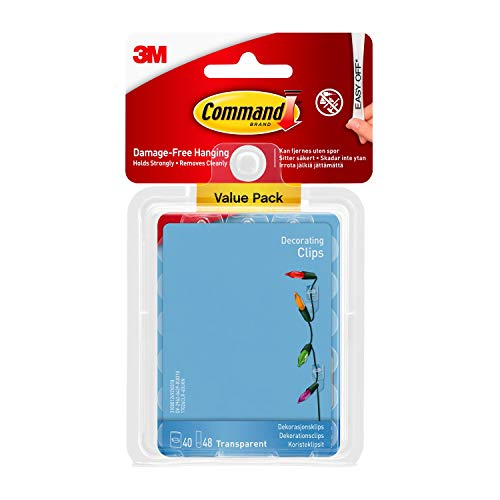 Command Clear Decorating Clips for Christmas and Fairy Lights - Value Pack of 40 Clips and 48 Clear Command Adhesive Strips