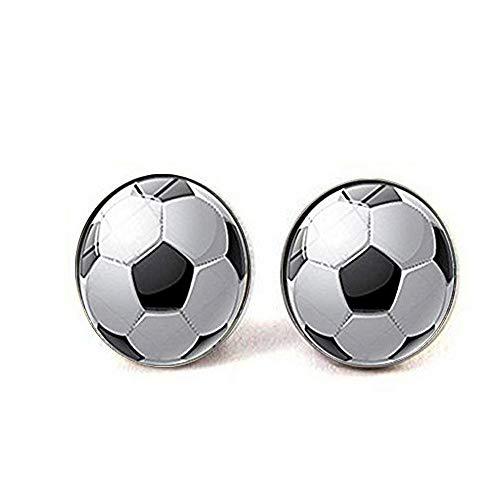 Pendientes de cristal de cabujón con diseño de balón de fútbol para mujer y hombre
