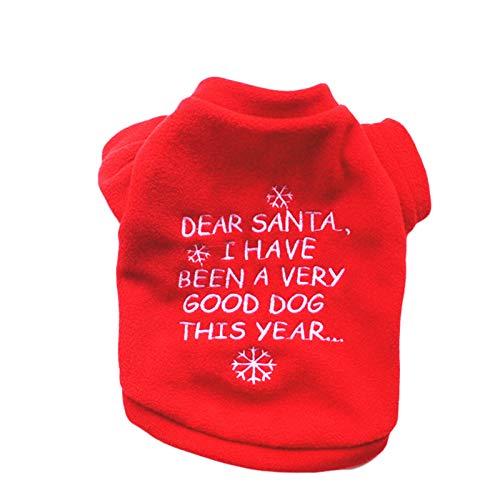 Navidad Abrigo Ropa De Color Rojo para Los Pequeños Perros Medianos, Año...