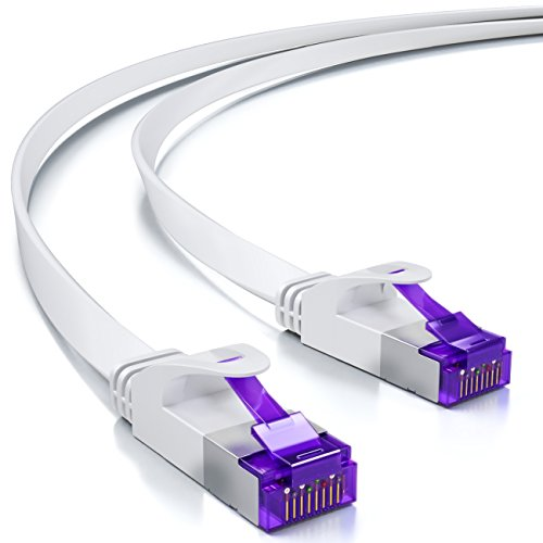deleyCON 10m RJ45 Patchkabel Flachkabel mit CAT7 Rohkabel Netzwerkkabel Ethernetkabel Slim U/FTP Gigabit Ethernet LAN Kabel Kupfer - Weiß