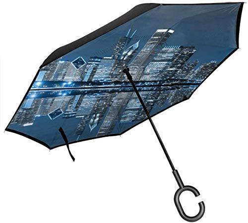 Parapluie Invers/é Eono by Mains Libres Poign/ée en Forme C Parapluie Anti-UV Double Couche Coupe-Vent Parapluie Parapluie Pliant pour Voitures Parapluie R/ésistant au Vent