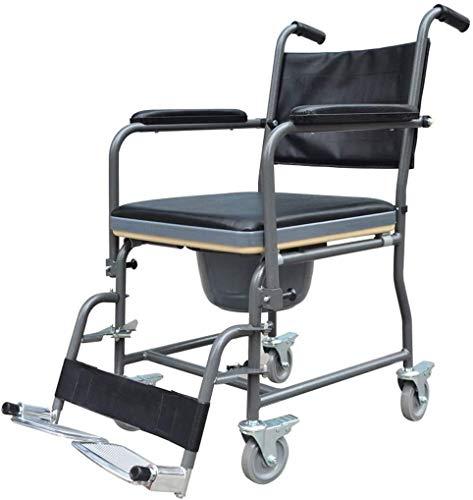 Z-SEAT Ducha Plegable 3 en 1 Silla, Silla de Ruedas de Aluminio Liviana con Orinal y Pedales Plegables, para Ancianos y discapacitados, Silla Plegable para Ancianos,