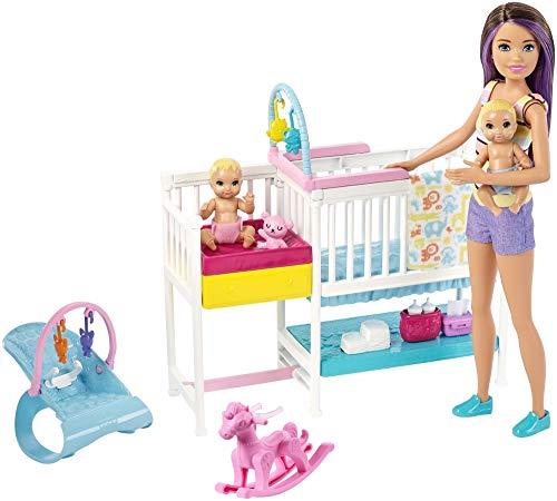 Mattel Barbie Skipper Hora de la Siesta-Muñeca Canguro con bebés y Accesorios GFL38
