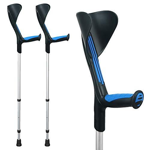 ORTONYX Forearm Crutches 1 Pair - Ergonomic Handle with Comfy Grip - High Density Sturdy Aluminum - 308lb Max / 200913