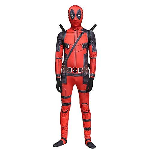 TOYSSKYR Deadpool Cosplay Elastische Strumpfhosen Maskerade Kostüm Erwachsene Halloween Bühne Performance Film Party Requisiten (Farbe : Red, größe : S)