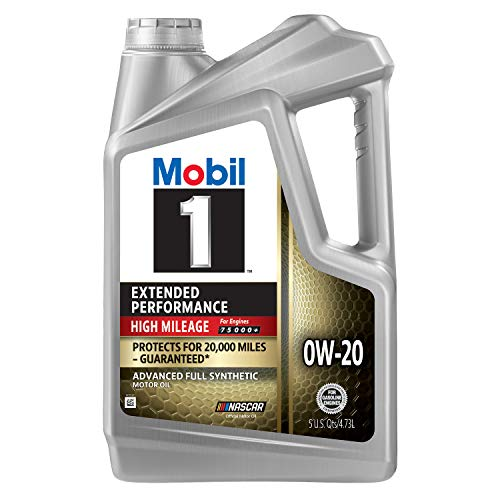 Mobil 1 Extended Performance High Mileage Full Synthetic Motor Oil 0W-20, 5 Quart, Gray