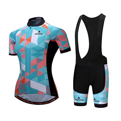 Uriah Women's Cycling Jersey Bib Shorts Sets Short Sleeve Reflective Space Blue Size XL(CN)