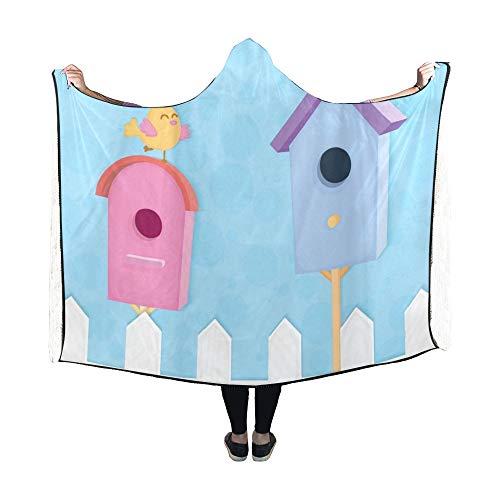 Yushg Hooded Blanket Zwei Bunte Nistkästen Funny Birds Blanket 60 x 50 Zoll Comfotable Hooded Throw Wrap