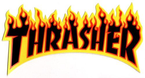 Thrasher-Magazine-Logo-Skateboard-Aufkleber, schwarz, ca. 15cm breit