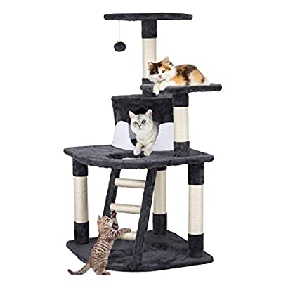 YAHEETECH 48in Cat Tree Tower with Spacious Condo, Cozy Platform and Replaceable Dangling Ball