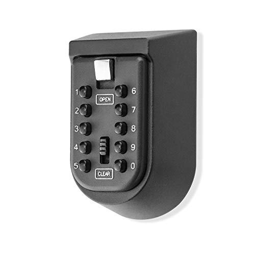 BenRich Schlüsselsafe für den Außenbereich, Wandmontage, 10-stellige Zahlenkombination, externe Aufbewahrungsbox mit Druckknopf-Gummiabdeckung für Haustür, Tor, Seniorenpfleger