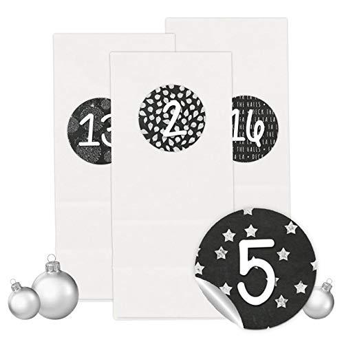 PaPIerDraCHeN Adventskalender Set - 24 Weiße Tüten mit 24 Schwarz-weißen Zahlenaufklebern - zum Selbermachen - Adventskalender zum Befüllen - Mini Set 16 - von