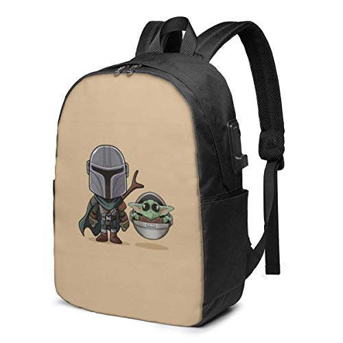 Boba Fett and Master Yoda USB Backpack 17 in Unisex Laptop Backpack Travel Durable Waterproof with USB Charging Port
