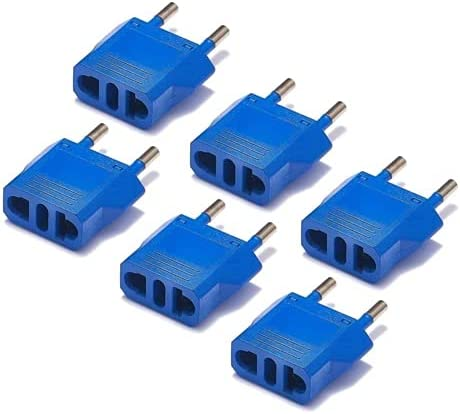 United States to Israel Travel Power Adapter to Connect North American Electrical Plugs to Israeli outlets For Cell Phones, Tablets, Laptops, eReaders, and More (6-Pack, Blue)