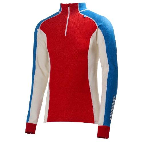 Helly Hansen Warm Freeze Sous-vêtement thermique de ski homme 1/2 zippée Alert Red/Racer Blue FR : S (Taille Fabricant : S)